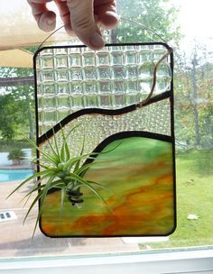 Stained Glass Panel Air Plant Holder Fire Canyon 3 by glassetc