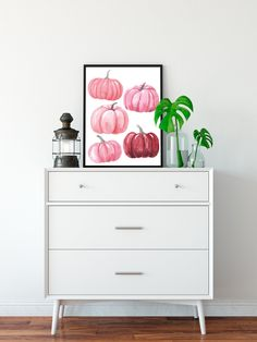 Wall Art Decor, Nursery Decor, Feminine Office Decor, Pumpkin Printable, Pink Pumpkins, Rustic Fall Decor, Colorful Wall Art, Staying Organized, Table Centerpieces
