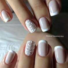 Design de unhas de noiva e casamento fotos de unhas de casamento - Braut Nägel - Bridal nails - Design Bridal Nails Designs, Bridal Nail Art, French Manicure Designs, Nail Art Designs, French Manicures, Nail French, French Manicure Nail Designs, Classic French Manicure, French Manicure With Glitter