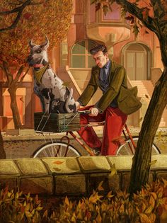 Check out some of the most stunning illustrations from the new book, including artworks from Jonathan Bartless, Rafael Alvarez and Thomas Ehretsmann. American Illustration, Illustration Art, I Like Dogs, Big Dogs, Run And Ride, Tweed Run, School Of Visual Arts, Bike Art, Interactive Design