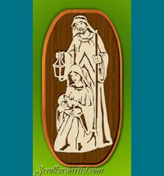 Scroll Saw Patterns :: Holidays :: Christmas :: Plaques & other projects :: Nativity on double backing -