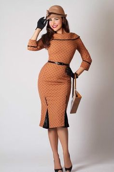 New 1940s 1950s 1960s Bettie Page Clothing Iced Coffee Pencil Dress