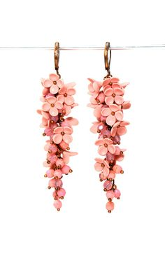 Inspiración flamenca  Floral Earrings with Lilac Peach Apricot Long Earrings Floral Jewelry Feminine Jewelry Gift for Her Pink Earrings