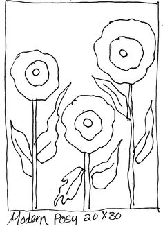 Modern Posy – Rug Hooking Pattern x All patterns are hand drawn on the backing of your choice. It is ready to go. All you have to do is start hooking the rug. Rug Hooking Designs, Rug Hooking Patterns, Wool Applique, Applique Patterns, Punch Needle Patterns, Hand Hooked Rugs, Penny Rugs, Modern Rugs, Woven Rug