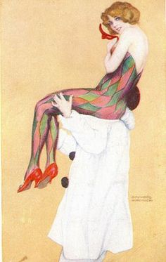 Harlequin flapper being carried by a pierrot