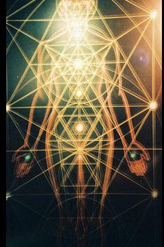 Human Body as mini solar system. Merkaba. Each chakra is a mini Torus putting out white light. Sacred Geometry