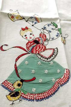 Retro 50's Stripes Dish Towel Lady Embroidered Linen Dish Tea Hand Towel Vintage |