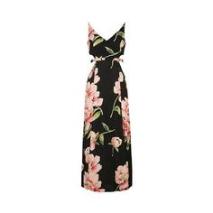 TopShop Floral Cut-Out Maxi Dress ($34) ❤ liked on Polyvore featuring dresses, black, floral printed dress, viscose maxi dress, rayon maxi dress, flower print dresses and flower print maxi dress