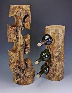 11. Tree Stump Wine Bottle Holders