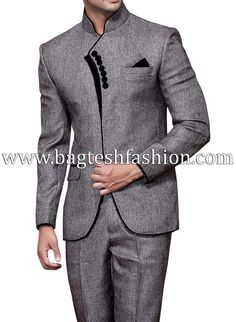 Elegant Party Wear Mandarin Suit,Gray is part of Suits Elegant black velvet piping and strip party wear mandarin collar suit made from gray color jute fabric Comes with matching trouser and pocket - Nigerian Men Fashion, Indian Men Fashion, Mens Fashion Wear, Blazer Fashion, Suit Fashion, African Dresses Men, African Attire For Men, African Clothing For Men, Mens Designer Shirts