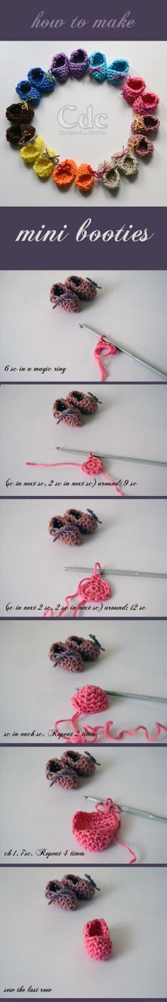 Creazioni del Centro: How to make mini booties : crochet pattern