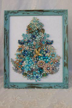 Vintage Jewelry Framed Christmas Tree All Aqua Jewels Gems Glam | eBay