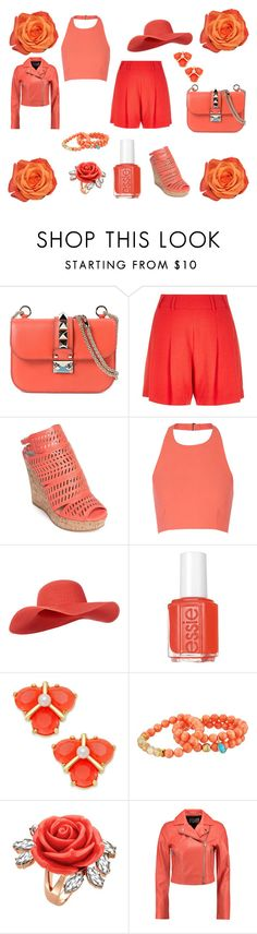 """Peach Paradise"" by issiebop11 ❤ liked on Polyvore featuring Valentino, River Island, Charles by Charles David, Elizabeth and James, Monsoon, Essie, Kate Spade, Dee Berkley, Mawi and T By Alexander Wang"