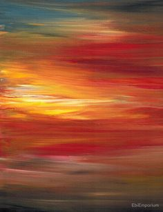 COLOR INTOXICATION 1 Colorcul Bold Deep Garnet Crimson Red Yellow Black Sunrise Sunset Ombre Abstract Acrylic Painting by EbiEmporium