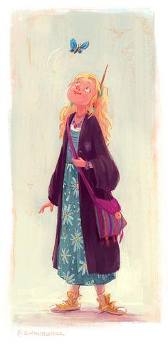 Simini Blocker — Luna Lovegood - They say it's her birthday. Fanart Harry Potter, Harry Potter Artwork, Harry Potter Illustrations, Harry Potter Drawings, Harry Potter Love, Harry Potter Universal, Luna Lovegood, Art Magique, Desenhos Harry Potter
