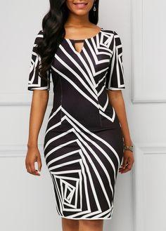 af60967275 US$ 33.92 - Black Keyhole Neckline Printed Half Sleeve Dress Cheap Black  Dress, Belted