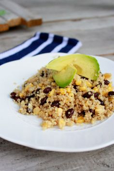 Here at Uptown Pilates we often see our instructors eating quinoa! This hearty, protein packed grain will help you feel full, energized, and help build lean muscle! This quinoa, black bean, corn, and advacado salad looks so tasty, too!
