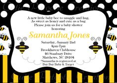 Bumble Bee Baby Shower Invitation Bumble by CutiesTieDyeBoutique. $15.00, via Etsy.