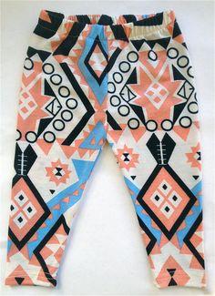 littlefour cotton knit aztec print baby leggings 2T 3T 4T.