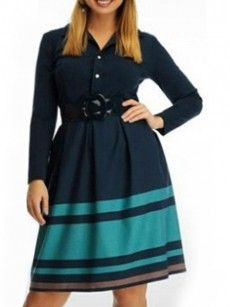 Excellent Small Lapel Assorted Colors Striped Plus-size-midi-dress