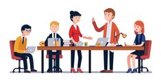 Buy Business Man Meeting at a Big Conference Desk by IconicBestiary on GraphicRiver. Business man meeting at a big conference desk. People working together. Modern colorful flat style v. Project Charter, People Working Together, Working People, Business Requirements, Training And Development, Seo Agency, Leadership Roles, Great Team, Lead Generation