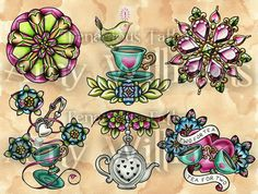 Green Idea Bird Turquoise Teacups Pink Heart Jewels An A4 print of my original watercolour tattoo flash painting, on Hahnemuhle German Etching, a 310gsm