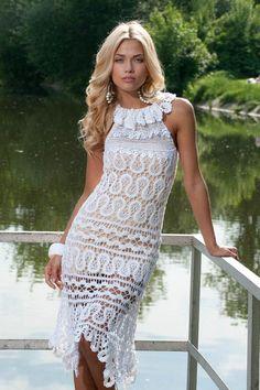 @roressclothes closet ideas #women fashion outfit #clothing style apparel white crochet lace handmade dress vestido