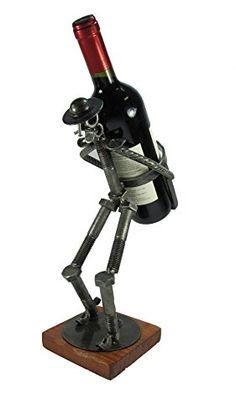 Wine Racks - Wine Bottle Holder Don Quixote Carrying Handcrafted Metal Art ** Read more at the image link. Welding Art Projects, Metal Art Projects, Car Part Art, Alcohol Dispenser, Diy Furniture Videos, Wine Stand, Wall Art Wallpaper, Scrap Metal Art, Wine Bottle Holders