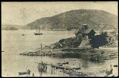 Akershus fylke Frogn kommune DRØBAK. Uvanlig kort med et hus i forgr. Båt i bakgr. Utg Eneb. K.A.Børresen 1907 Stemplet 1914