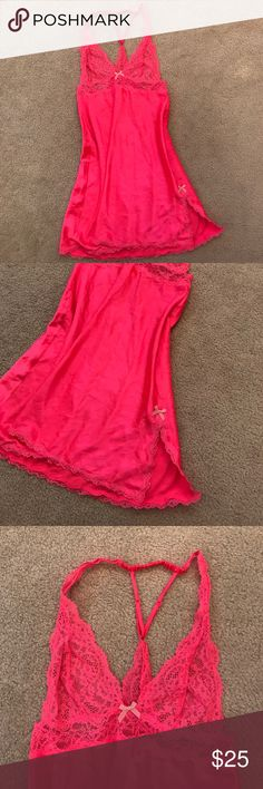 Victoria's Secret babydoll Pink babydoll. Perfect condition. Satin with lace. Victoria's Secret Intimates & Sleepwear Chemises & Slips