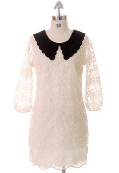 Scrolled  Collar White Flower Stitch Dress