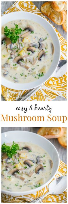 Easy and Hearty Mushroom Soup Recipe from @natashaskitchen