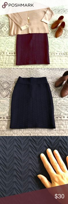 LuLaRoe Navy Blue Textured Cassie Pencil Skirt So versatile! Dress it up or down. Transitions from fall to spring perfectly! Matches everything- a closet staple. Worn a couple times, make an offer!! LuLaRoe Skirts Pencil