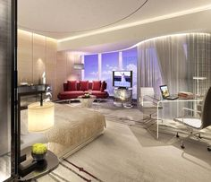Guestroom rendering for Four Seasons Hotel Guangzhou, designed by HBA/Hirsch Bedner Associates.