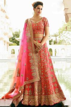 Looking to Buy Lehenga Online: Buy Indian lehenga choli online for brides at best price from Andaaz Fashion. Choose from a wide range of latest lehenga choli designs. * Express delivery, Shop Now! Orange Lehenga, Raw Silk Lehenga, Pink Lehenga, Net Lehenga, Lehenga Choli Online, Anarkali, Lehenga Choli Designs, Ghagra Choli, Indian Dresses