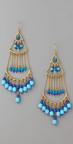 Blue-beads chandelier earrings. Very nice. #boho #bohemian #jewelry