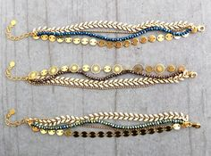 Bracelet multirang ★ collection capsule Noël ★ doré or fin 24 carats