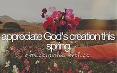 Christian Bucketlist - god's creation