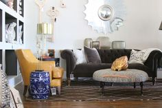 Mitchell Gold + Bob Williams' CHESTER Sofa in gray velvet. LOVE. We sell pretty much everything you see here at LOFThome.com.