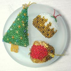 Christmas Tree, Christmas Pudding, Robin - Great British Christmas Ornament Collection - Holiday Decor for the Tree - Gift for Expat by DewCatDesigns on Etsy