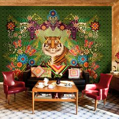 Beautiful wallpaper from Catalina Estrada, this could be done with a tapestry or large poster
