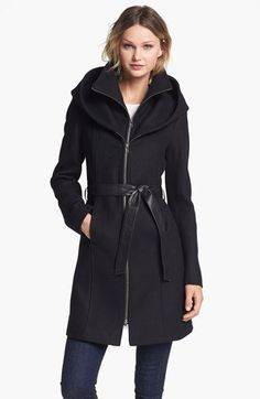 Soia & Kyo Hooded Wool Blend Coat with Leather Belt   Nordstrom