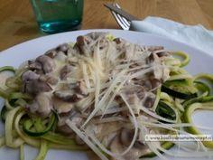 courgettepasta met champignonroomsaus 5,3 KH p.p.