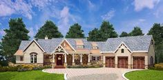 Southern Style House Plans - 2531 Square Foot Home , 1 Story, 3 Bedroom and 3 Bath, 3 Garage Stalls by Monster House Plans - Plan 24-231