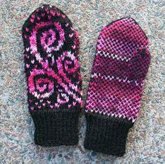Ravelry: Kiemurakukkaset pattern by Pia Tuononen Mittens Pattern, Knit Mittens, Mitten Gloves, Knitting Socks, Crochet Pattern, Knit Crochet, Knit Socks, Knitting Stitches, Knitting Patterns