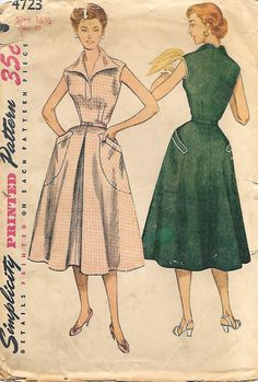 Simplicity 4723-1950s Half Size Sleeveless by GrandmaMadeWithLove