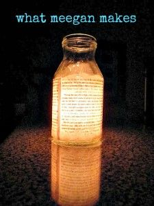 Mod Podge, book pages and an old jar-great look for Fall.