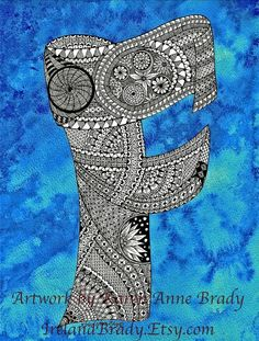 ACEO+Alphabet+Letter+F+zentangle+doodle+initial+by+IrelandBrady,+$1.00
