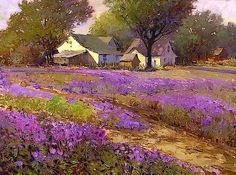"""Country lavender"" By Kent R. Wallis, from Ogden, Utah, US (b. Watercolor Landscape, Landscape Art, Landscape Paintings, Wow Art, Pastel Art, Wallis, Beautiful Paintings, Art World, Painting Inspiration"