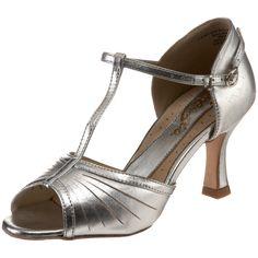 """Capezio Women's BR128 Alandra Latin T-Strap 2.5"""" Flared Heel Shoe,Silver,12 M US"""